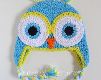 Owl Hat 6-12 Month Blue Yellow Gifts for Kids Ready to Ship Gifts for Baby Earflap Winter Beanie