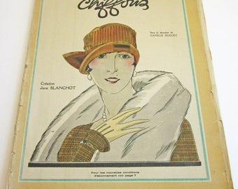 RARE Vintage French Magazine Chiffons March 1926 1920's Fashion & Couture Worth, Patou Illustrations