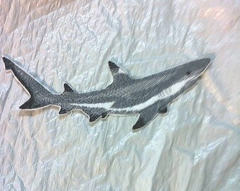 Predator of the Deep - Black Tipped Shark embroidered Iron on Patch - Applique -  4 sizes FREE SHIPPING