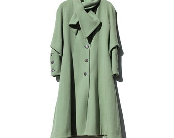 Vintage Pastel Green Tailor Fitted Wool Coat