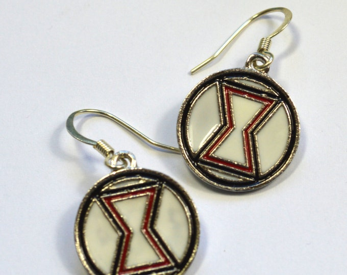 Black Widow Logo Avengers Geeky Dangle Earrings