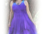 Gorgeous sleeveless dress hand dyed  in bluebell and violet matching cotton tie front hooded top sold separate