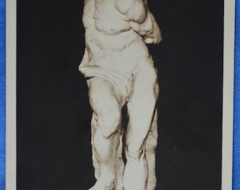 Art Michelangelo Rebellious Slave Louvre Museum Sculpture Early 20th Century Postcard Made France