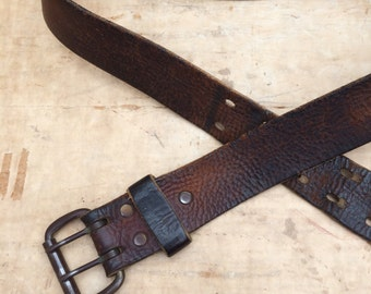 vintage distressed brown leather double prong buckle belt