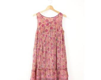 90's ethnic floral babydoll dress  // medium