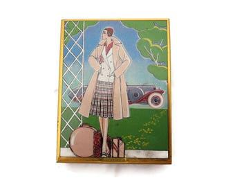 La Mode Art Deco Tin Candy Box - Vintage Fashion Flapper Lady Early Automobile Design Niggli Lackerli-Huus Switzerland Sliding