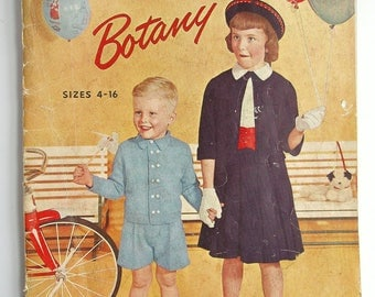 Growing Up with Botany, Vintage 1950 Children's and Tweens Knitwear Clothing and Knitting Pattern Booklet, Sizes 4-16