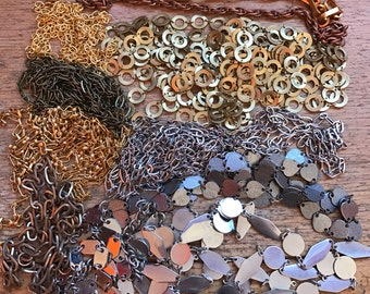 Salvaged Chain Lot // Vintage Chains // 1960s 1970s // Jewelry Making Supplies // 1 lb Chain Destash Chains // DIY // Chain Lots