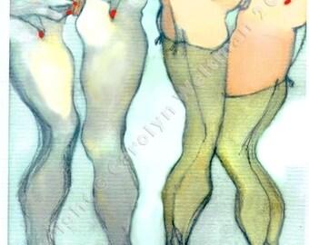 Erotic Art Print, Pinup, Sexy, Mature - Pony Girls