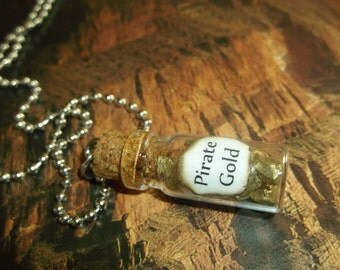 Pirate Gold / Mini Glass Bottle Necklace