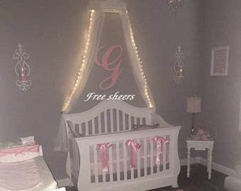 Crib canopy with lights included, Canopy bed w/ lights, bed crown lights,