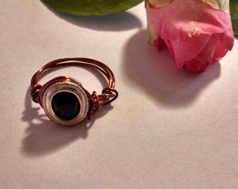 Unique Faceted Oval Black Onyx Wire Wrapped Ring Handmade Jewelry Real Gemstone SIze 8 Boho Chic Bezel Set Genuine Gem Colore Wire