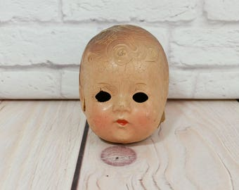 Vintage Composition Doll Head Eyeless Great Creepy Decor