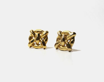 1960s Gold Brass Baroque Clip On Earrings