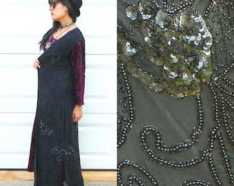 1980s Vintage Black Silk Beaded Vest Floor Length Silk Beaded Maxi Vest Beaded Sequin Vest Size Large
