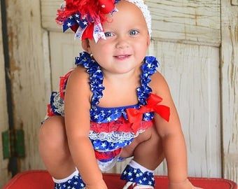 4th of July Baby Romper Outfit,Patriotic Romper and Headband,4th of July Baby Girl,Girls Romper and Bow Headband Sets 4th of July Pageants