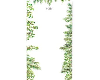 Fir Branch Evergreen Botanic Notepad - Illustrated Unlined Note Pad