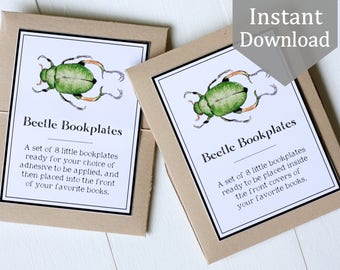 Bookplates, Printable - Beetles - Ex Libris, School Supplies, Montessori, Educational, Insects, library, Nature Study