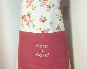 Baking apron,Ladies apron Born to Bake embroidered apron OOAK