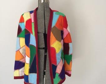 Vintage CRAZY QUILT Jacket •1970s Clothing • Coat of Many Colors Unique Handmade Multicolor Patchwork Lightweight Blazer Women Medium Large