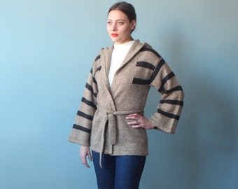 belted wrap sweater with hood bell sleeves | 1970s small