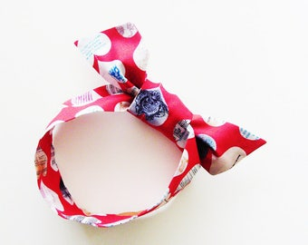 Heart Banner Head Scarf / Multipurpose Valentine Hair Accessory, Neck Tie, Handbag or Walker Adornment, Pet Neckerchief / Fun Gift Under 25