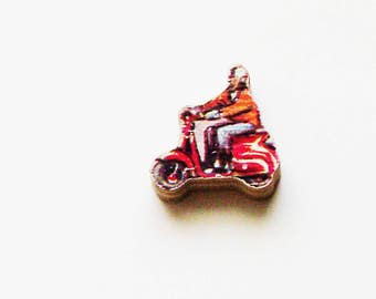 1960s Scooter Brooch - Pin / Upcycled Vintage Hand Cut Wood Road Vehicle Puzzle Piece / Red, Orange & Blue / Unique Gift Under 30