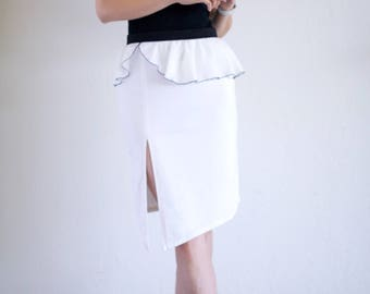 Cream White Tango Skirt with Georgette Ruffles