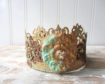 Ornate Santos crown antique vintage style decor crown handmade tiara doll size decor crown mixed media faux verdigris  rust crystals