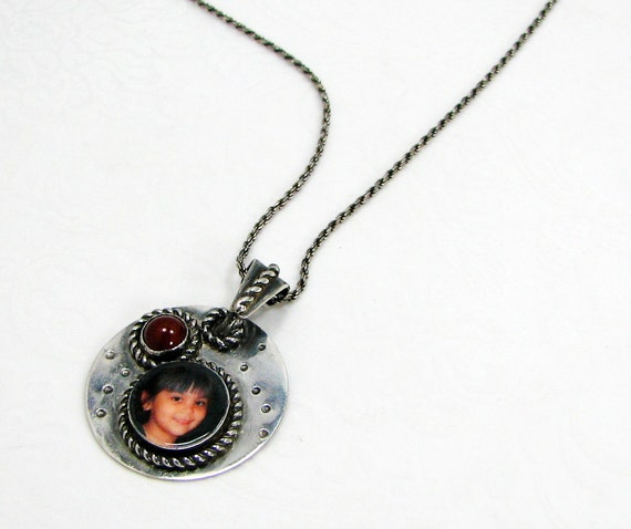 Antiqued Sterling Photo Pendant with Carnelian - CMPP-O