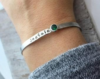 Personalized Cuff Bracelet - Handstamped Bracelet - Mantra Bracelet - Birthstone Bracelet - Skinny Stacking bracelets  - Silver Bracelet