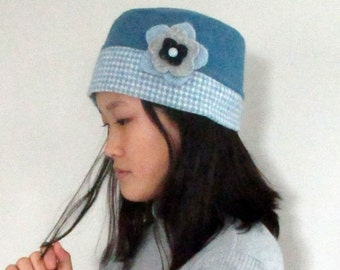 Wool Hat in Blue and White Fleece Lined with Detachable Flower from The Bent Tree Gallery