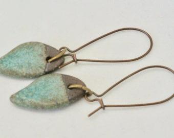 Rustic Teal Green Earrings, Leaf Earrings, Teal Jewelry, Ceramic Earrings, Minimalist Brown Earrings, Geometric Brown Earrings, Earthy Boho