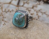 High Dome Turquoise Ring. Textured Sterling Silver Blue Stone Ring. Unique Statement Ring. Pyramid. Artisan Jewelry. Size 6