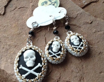 Bead Embroidered  Skull and Crossbones Cameo Set with Sterling Silver Ear Wires, Morticia Would Wear These, Elegantly Creepy, Goth Jewelry