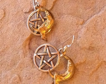 Lady on the Moon Earrings,Shiny Brass and Sterling Silver Ear Wires, Moon & Pentagram Earrings, Goddess Jewelry, Priestess Gift,Blessed Be