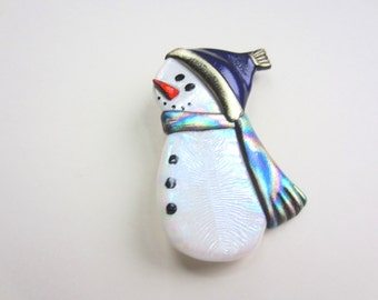 Bundled up little snowman with deep purple hat and scarf pin brooch