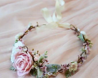 dusty pink flower crown, bridal head pieces, flower crown wedding, bridal flower hair piece, mauve pink, bridal headband, green flower crown