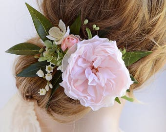 peony hair clip, blush wedding, pink flower hair clip, bridal hairpiece, wedding hairpiece,  lily of the valley, floral hair accessories