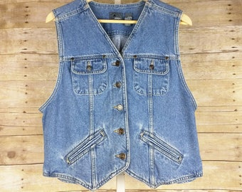 Vintage Blue Denim Vest Misses L