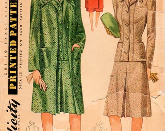 1940s Simplicity 3888 Vintage Sewing Pattern Misses 3 Piece Suit, Tailored Jacket, Skirt, Coat Size 14 Bust 32