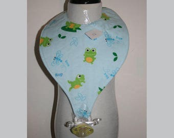"Baby Bibs, Pacifier Bibs, Bibs with Pacifier, Bibs, Pacifier, "" Frogs"""