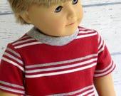 American Boy Doll Red Stripe Tee Shirt, 18 inch Boy Doll Clothes Short Sleeve T Shirt