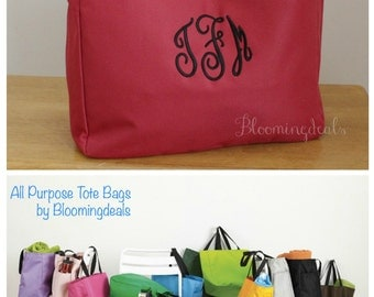 Personalized Tote Bags Name or Initial Monogram Christmas Gifts