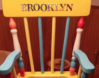 Olivia Grace Nolan Hand Painted and Personalized Vintage Rocking Chair
