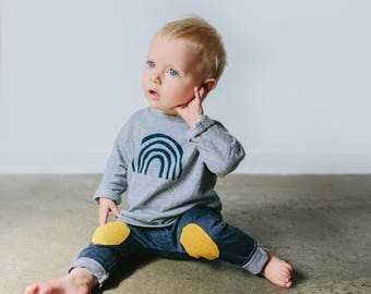 merino kids pants with wool patches