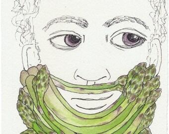 Original Vegetable Art Gift Original Beard Art Gift Rustic Art Original Ink Drawing Original Watercolor Cool Beard Gift for Him