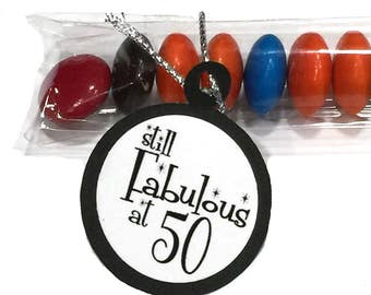 Still Fabulous at 50 - 50th Birthday Candy Treat Bag Favors, Black and White or Your choice of Colors