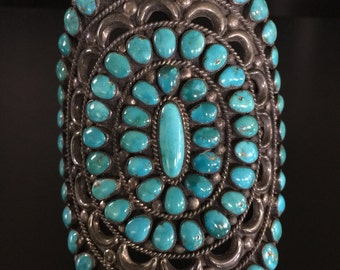 Vintage Navajo Native American GIANT Turquoise Sterling Silver Cuff Bracelet ~ 4 Inches Tall Sunburst Pattern