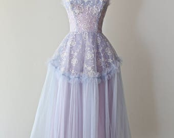 Vintage 1950s Hydrangea HAZE Prom Dress ~ Vintage 50s Blue and Lavender Embroidered Tulle Prom Dress Waist 25